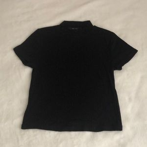 Tops - Black Mock Neck Short Sleeve Top